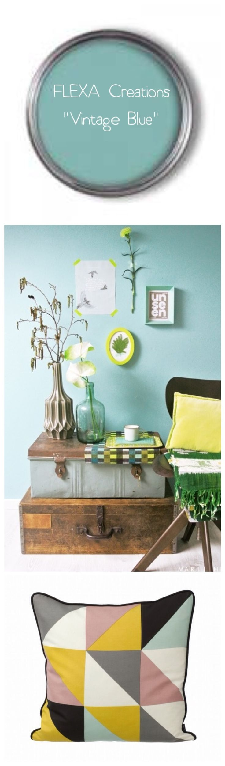 Vintage Blue - FLEXA. for the bedroom wall behind the bed Voor meer inspiratie…