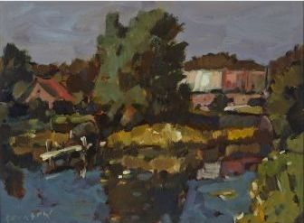 "HELMUT GRANSOW, R.C.A. MILL POND oil on masonite signed; signed, titled and dated '78 on the reverse height 12.0"" x width 16.0"" height 30.5 cm x width 40.6 cm  Est. $1200/1500  Auction Date: 09/18/2014   Waddington's Auction House"