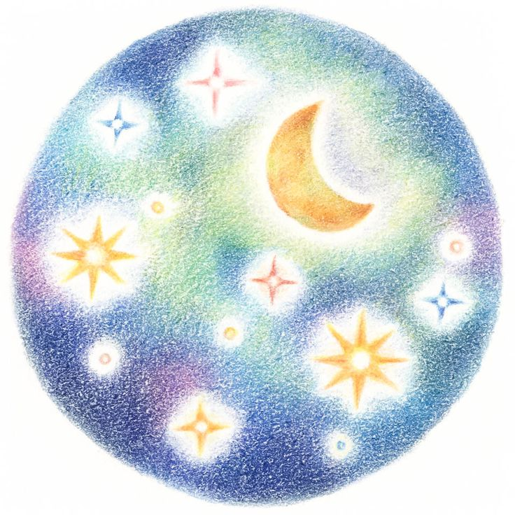 """Moon and Stars"" −RiLi, picture book, illustration, design ___ ""星と月"" −リリ, 絵本, イラスト, デザイン ...... #illustration #star #moon #イラスト #星 #月"