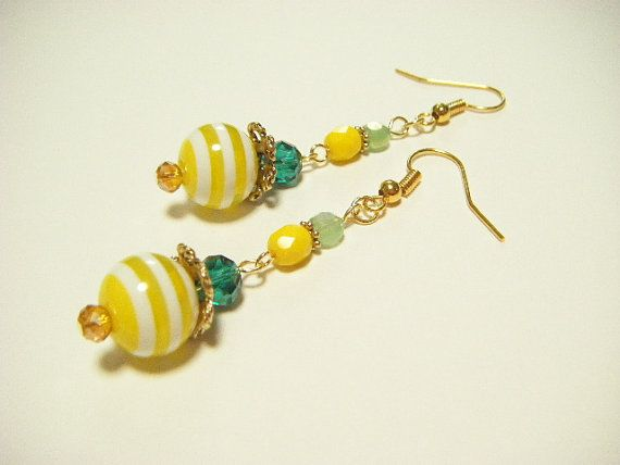 Yellow stripe earrings yellow and green earrings by Coloramelody