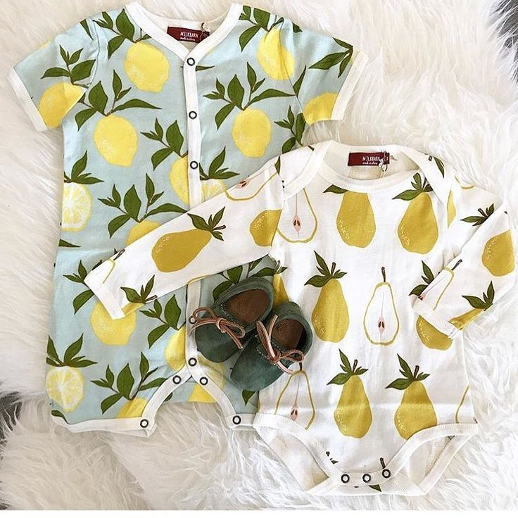 "634 Likes, 38 Comments - MILKBARN (@milkbarnkids) on Instagram: ""Yummy yummy, fruit salad! 🎶 #milkbarnkids #wiggles #fruitprints #lemons #pears #onesie #shortalls…"""