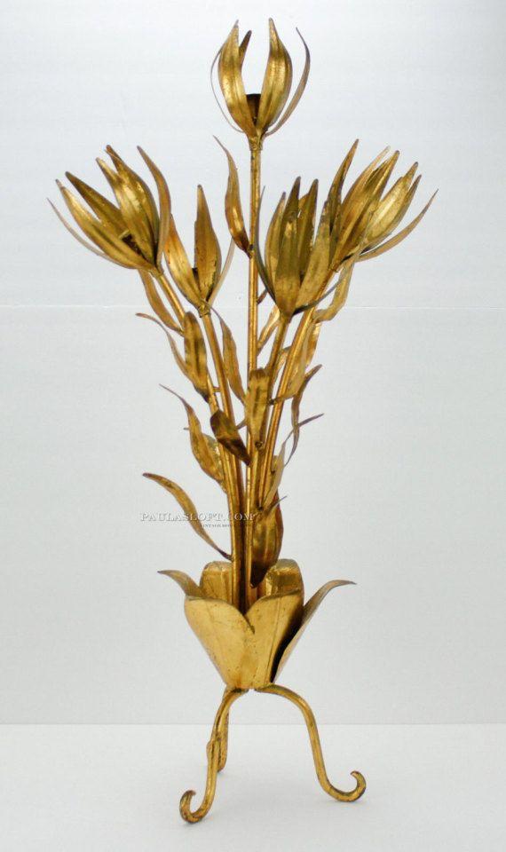 www.PaulasLoft.com Mid Century Italian Flower Decor Gold Gilt Candle Holder Floor Stand Italy Vtg #PaulasLoft #MidCentury #Italian #Flower #Decor #Gold #Gilt #CandleHolder #FloorStand #Italy #Vintage