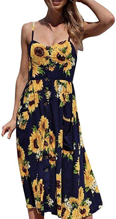 8c5f7a1f120c Sunward Women Boho V Neck Button Up Floral Print Maxi Dress Spaghetti Strap  Swing Casual Sundress (Navy