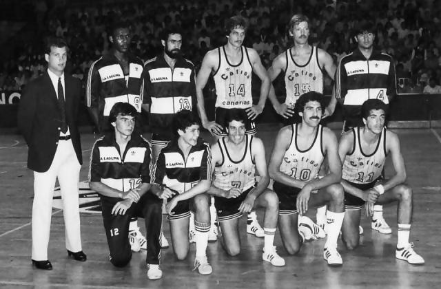 Cafisa Canarias 1983-84: con Carmelo Cabrera, Sacedo, Prada, Bethencourt, Meister, Walter Sczcerbiak o quién redacta este artículo, Juan Méndez (nº11)