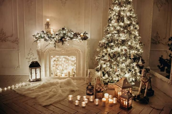 Classical Interior White Room With Decorated Fireplace Christmas Tree Photography Backdrop J 0612 Christmas Tree Photography Christmas Fireplace Decor Christmas Backdrops Christmas tree living room background