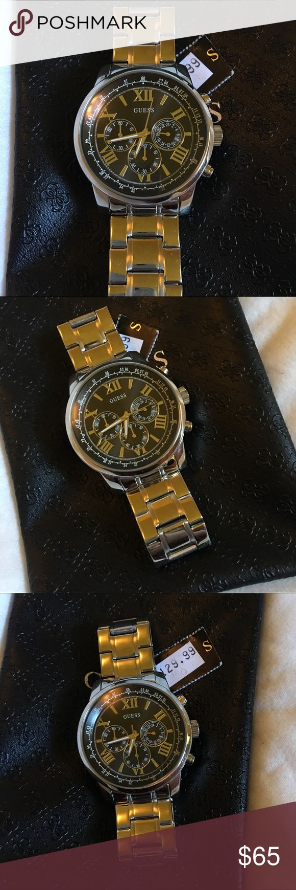 Men Guess Watch Silver and black watch. Water resistant new with tags comes in pouch Guess Accessories Watches