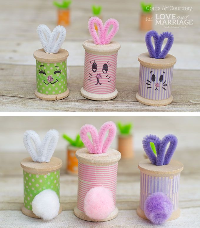 Adorable Easter bunny craft from thread spools. So easy and cute!