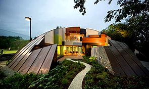 Located in Hawthorn, Australia by architects McBride Charles Ryan based off of Roy Grounds 1959 Spaceship Design.