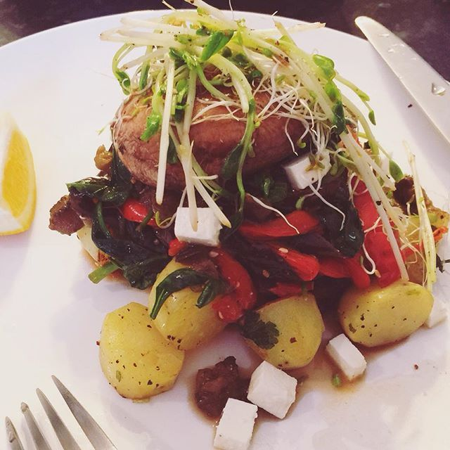 Sunday night: eggplant salad with field mushrooms x 4