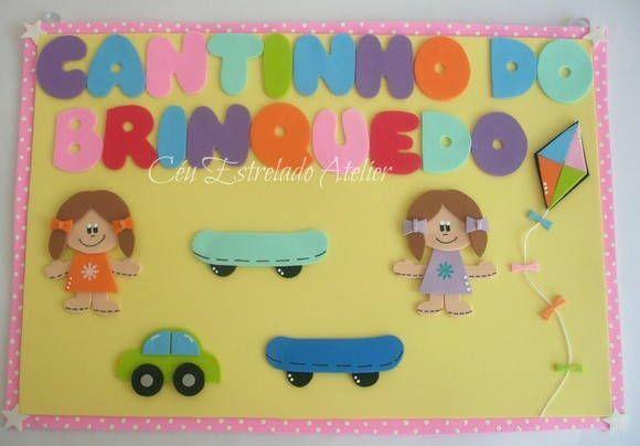 Placa+em+EVA+Cantinho+do+Brinquedo.++Cores+totalmente+personalizáveis.++Ótima+para+enfeitar+a+sala+de+aula. R$ 30,00