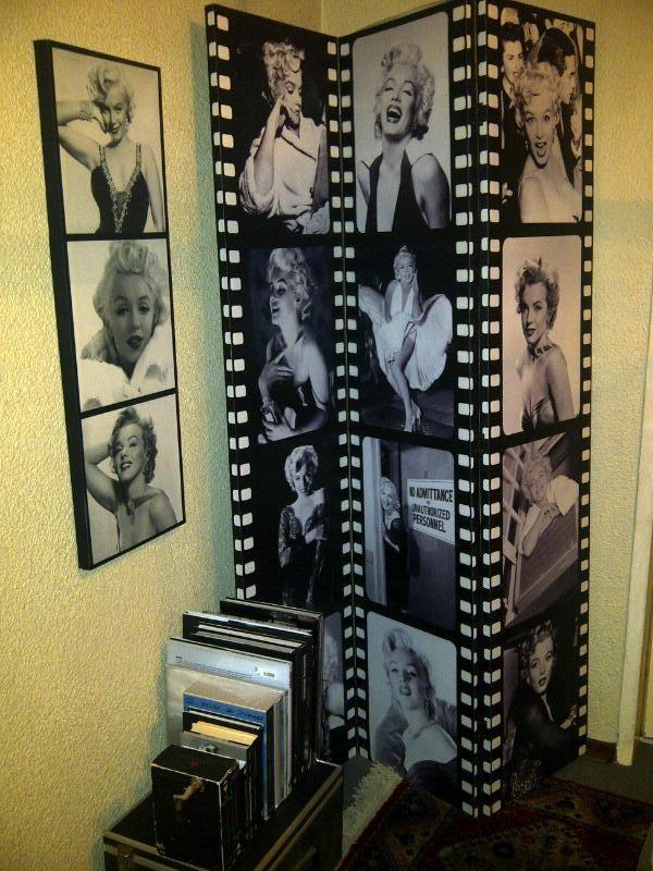 Marilyn corner: Marilyn Monroe room divider with art print and books |  Bohemian Vintage Bedroom | Pinterest | Offices, Marilyn monroe room and  Living rooms - Marilyn Corner: Marilyn Monroe Room Divider With Art Print And