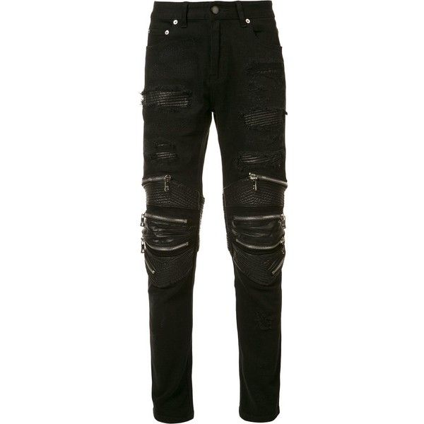 God's Masterful Children zipped ripped skinny jeans ($545) ❤ liked on Polyvore featuring men's fashion, men's clothing, men's jeans, black, mens distressed jeans, mens zipper jeans, mens ripped jeans, mens ripped skinny jeans and mens distressed skinny jeans