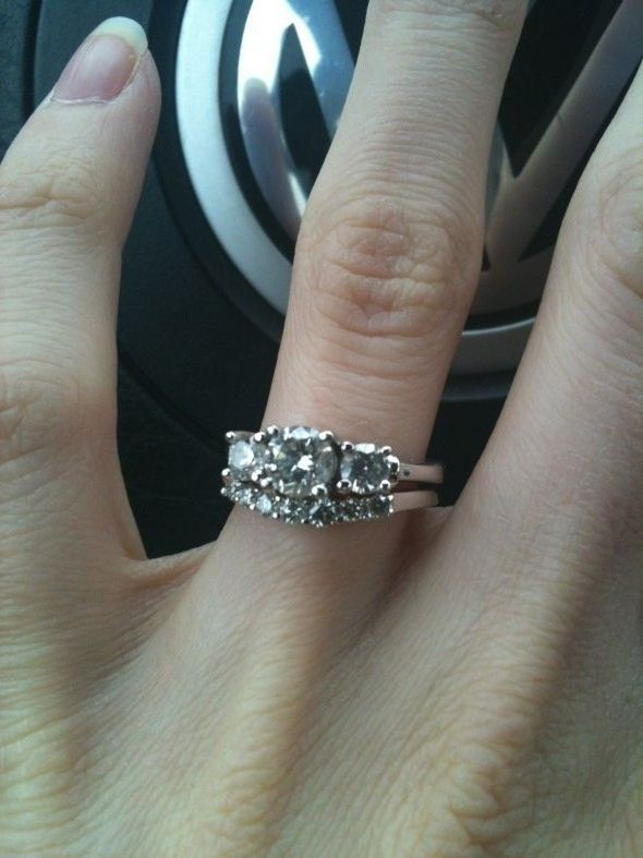 Show Me Your 3 Stone Rings With Wedding Band Updated Pics Weddingbee Want Pinterest Engagement And