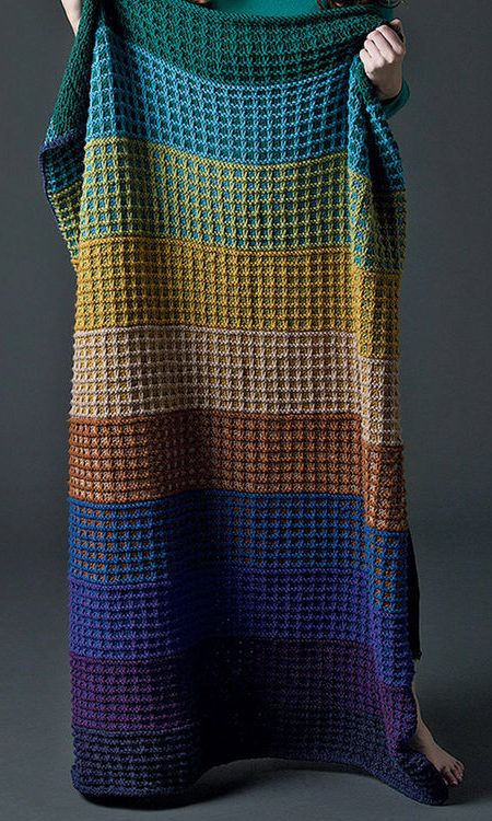 Free Knitting Pattern for Colorful Slip Stitch Afghan -   This easy throw is worked in one piece in slip stitch colorwork so you are only knitting with one color per row in a 6 row repeat.
