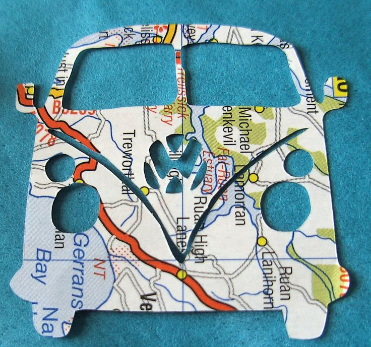 Die Cut VW Van upcycled map paper embellishments card by FruteJuce