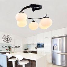 Luz De Techo de Cristal moderno 3 o 5 Luces E26 E27 lámpara de Pintura de Metal Negro Montaje Empotrado dormitorio Lámpara de Techo para Vivir habitación(China (Mainland))