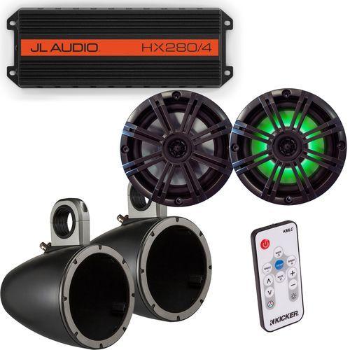 "JL Audio HX280/4 Powersports Amp with Kicker KMTES speaker enclosure and LED OEM 6.5"""" Kicker Marine Speakers"
