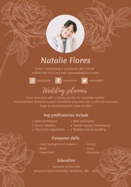 How to design a Wedding Planner Resume, click for more! Business