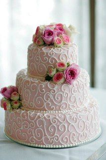 Pink And White Cake With Flowers By Carrie S Cakes