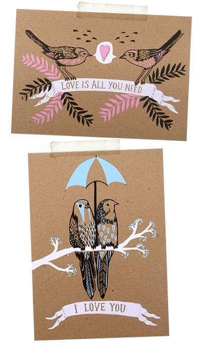 love birds, drawing, print, brown paper, gift card, valentine, love, cute, sketch, illustration