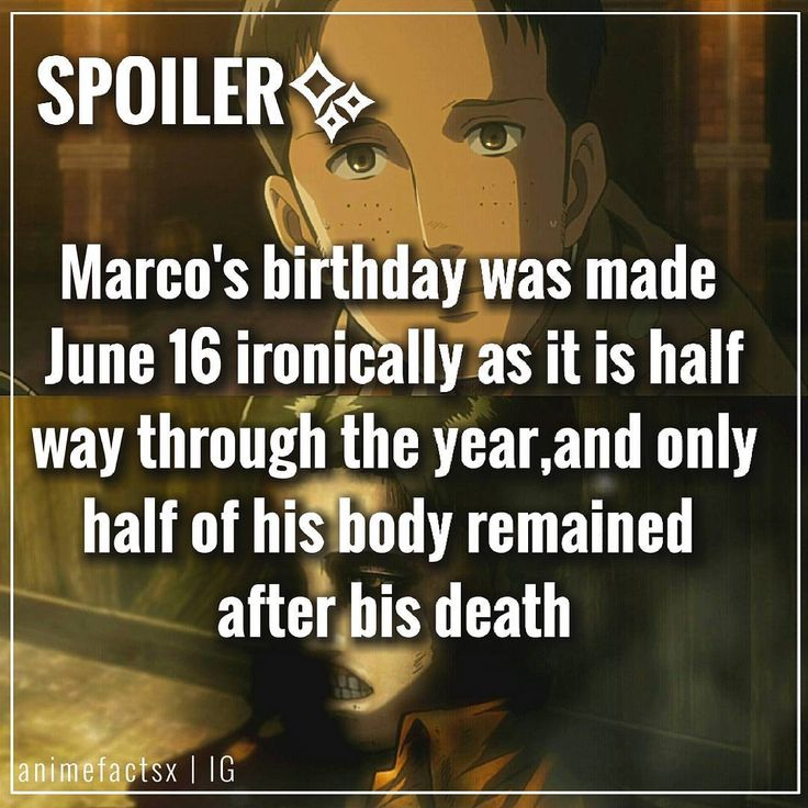 """2,727 Likes, 127 Comments - Anime Facts  (@animefactsx) on Instagram: """"*his Happy Birthday Marco.. Isayama has stated that he was going to kill Marco in a later…"""""""
