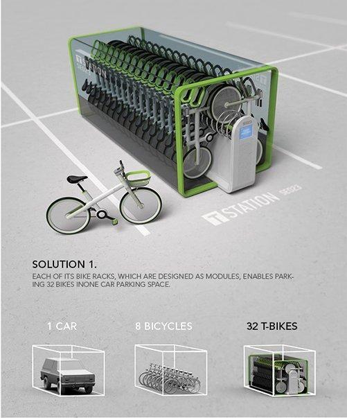 T-Bike vending machine crams 32 bikes in one parking spot