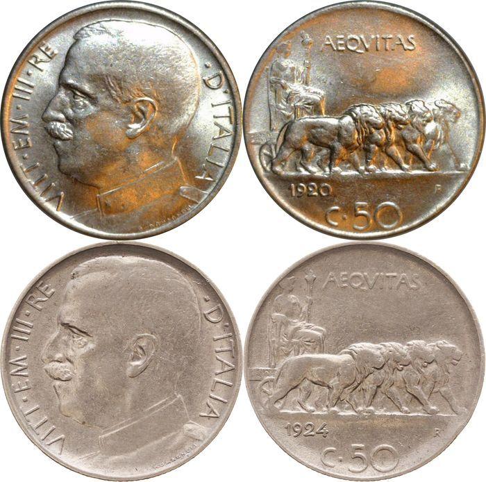 """Koninkrijk Italië - 50 cent 1920 en 1924 """"Lions rieten"""" - Vittorio Emanuele III.  Prachtige paar van 50 cent """"Lions"""".De 50 cent 1920 is perfect. De rand had moeten glad maar de munt was genomen voordat zij in de sterven-cutter worden genomen en daarom blijft deels rieten zoals in de foto's.50 cent 1924 """"Lions"""" (rieten edge) werden bedacht tijdens de lange regeerperiode van koning Vittorio Emanuele III; Aanvankelijk werden deze munten uitgegeven met een gladde rand maar om te voorkomen dat ze…"""