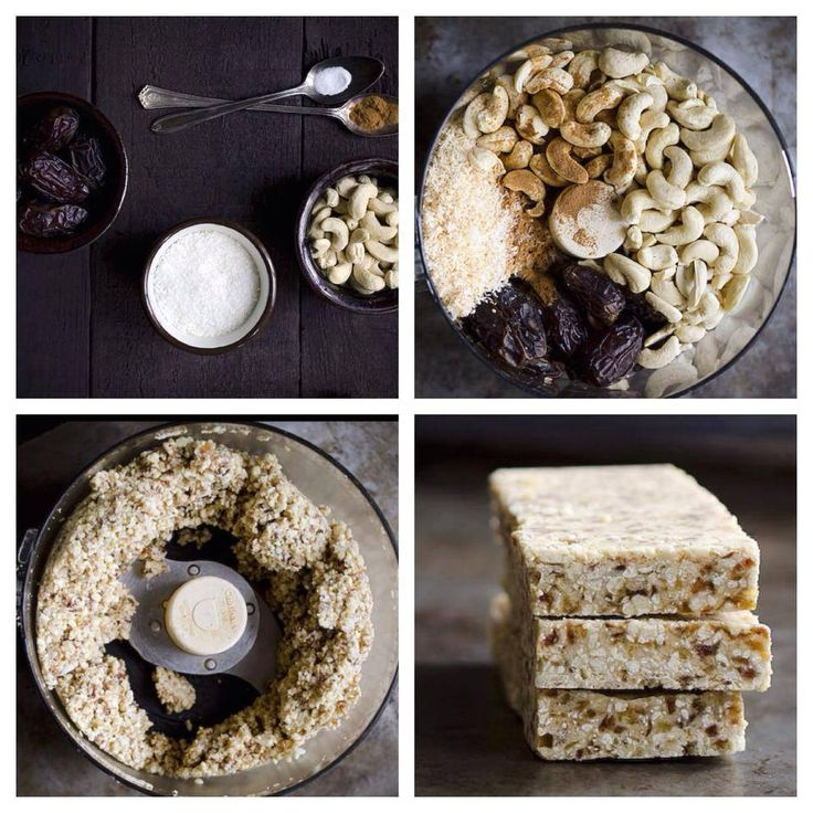 Barritas de cereal -2/3 taza de coco rallado deshidratado sin azúcar - 2 tazas de Anacardos (castañas de cajú, merey, marañon) sin sal - 1 taza de dátiles sin sal o ciruelas pasas - 1/4 cucharadita canela en polvo - 1/8 cucharadita de sal marina - 1/4 taza más 2 cucharadas de mantequilla de coco - Aceite de coco o de ajonjolí (sesámo)
