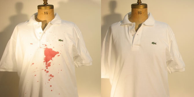 Red wine stains on a white shirt are no match for meurice for Wine stain white shirt