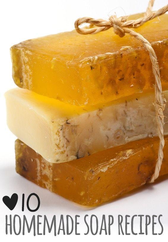 Top 10 DIY Homemade Soap RecipesDiy lemon soap http://apumpkinandaprincess.com/2013/05/homemade-lemon-soap-mothers-day-gift-ideas.htmlCoconut lime soap http://offbeatandinspired.com/2013/04/03/coconut-lime-soap/Diy Ginger soap http://www.lovinsoap.com/2012/10/ginger-soap-using-fresh-ginger-pulp-in-soap/Diy avocado Oil soap http://www.soap-making-essentials.com/avocado-oil-soap.htmlDiy spicy tea soap http://www.allfreecrafts.com/homemade-gifts/spicy-tea-soaps.shtmlDiy fourth of july so...