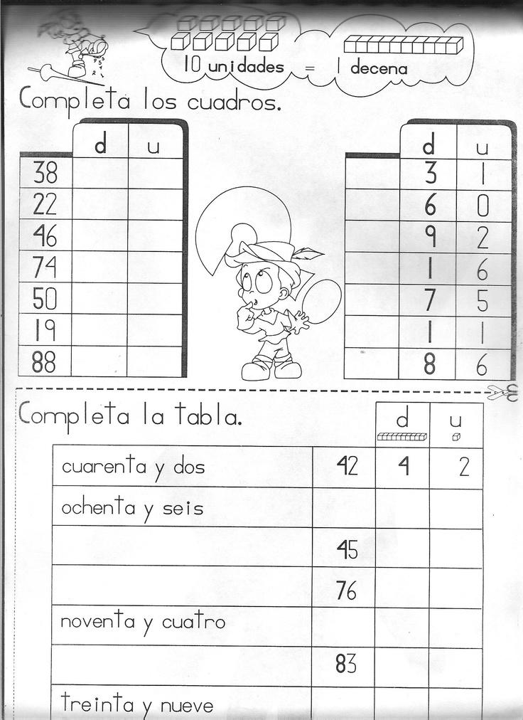 Decenas y Unidades: Matemáticas Primaria, Fichas Matematicas, 1O ...