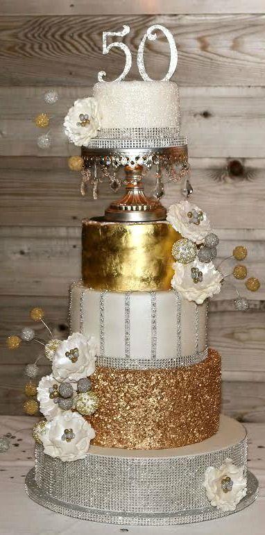 Silver & Gold 50th Birthday Cake