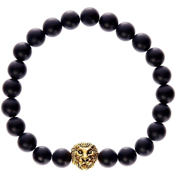 Jean Claude Lion Charm Matte Agate Bead Stretch Bracelet ($20) ❤ liked on Polyvore featuring men's fashion, men's jewelry, men's bracelets, mens beaded bracelets and mens charm bracelets