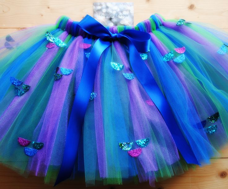 Mermaid Tutu with Glittery Mermaid scales - Designed and Handmade by Beautiful Greys
