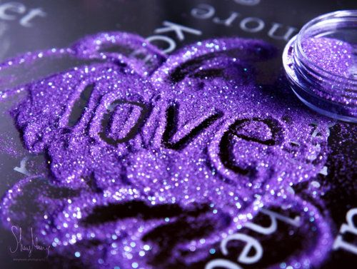 love in purple glitter