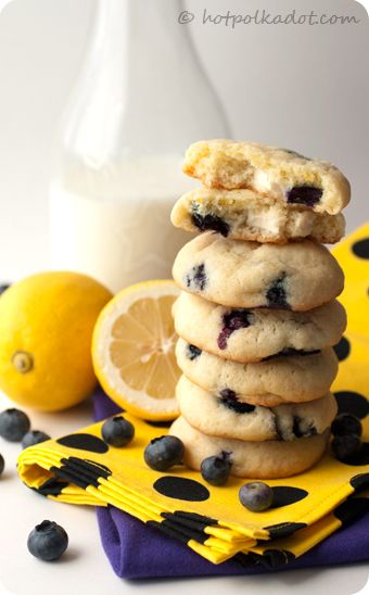 Lemon Blueberry Cheesecake Cookies - yellow and blue
