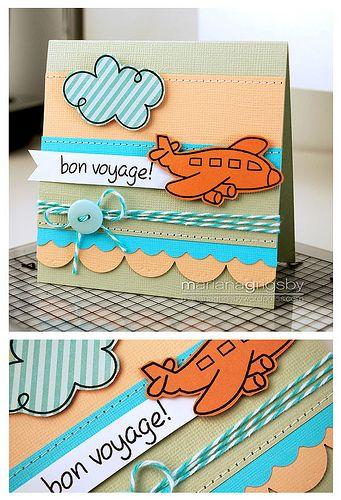 """DIY """"bon voyage!"""" card #button #getaway #holiday"""