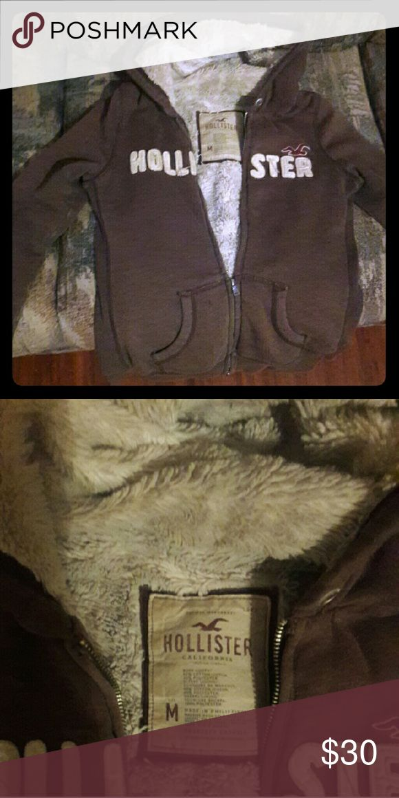 Hollister jacket Brown ladies Hollister zip up jacket. Very warm and in goof condition Hollister Jackets & Coats