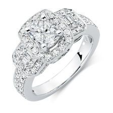Engagement Ring with 1.33 Carat TW of Diamonds in 14ct White Gold