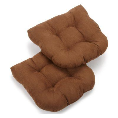 Blazing Needles Microsuede U-Shaped Indoor Chair Cushion - Set of 2 Chocolate - 93184-2CH-MS-CH