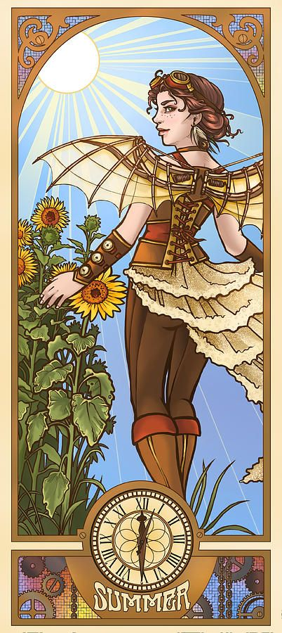 Steampunk Summer Digital Art  - Steampunk Summer Fine Art Print - danikaulakisart.com/