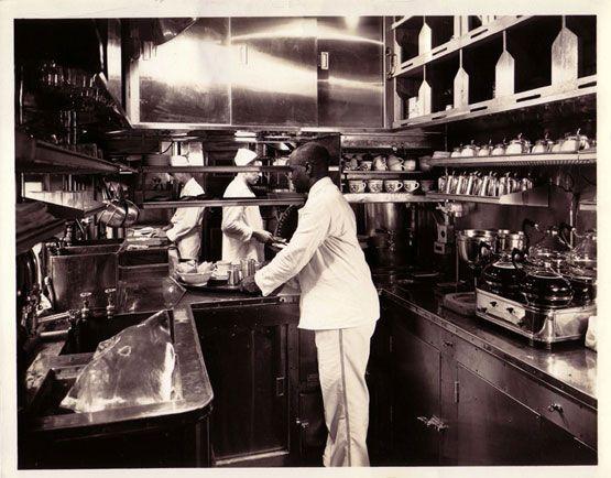 Kitchen in Pullman dining car.