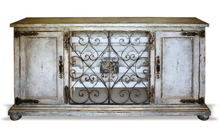 hand painted cabinet with wine decor | HAND PAINTED WROUGHT IRON BUFFET WINE CABINET Furniture, Finds & More