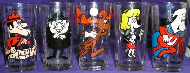 Cartoon Characters 1960s 1970s : Images about glass cartoon cups on pinterest jelly