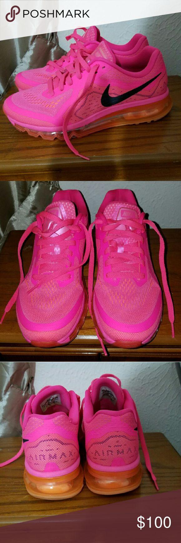 Ladies NIKE Air Max 2014 Hyper Pink and orange Nike Shoes Sneakers