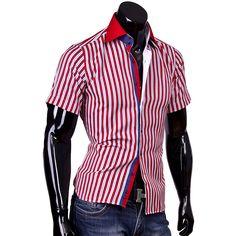 Рубашка Louis Fabel приталенная цвет красный в полоску