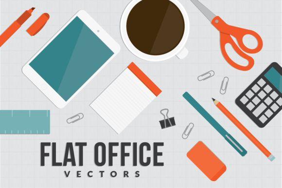 Flat Office ~ Objects on Creative Market