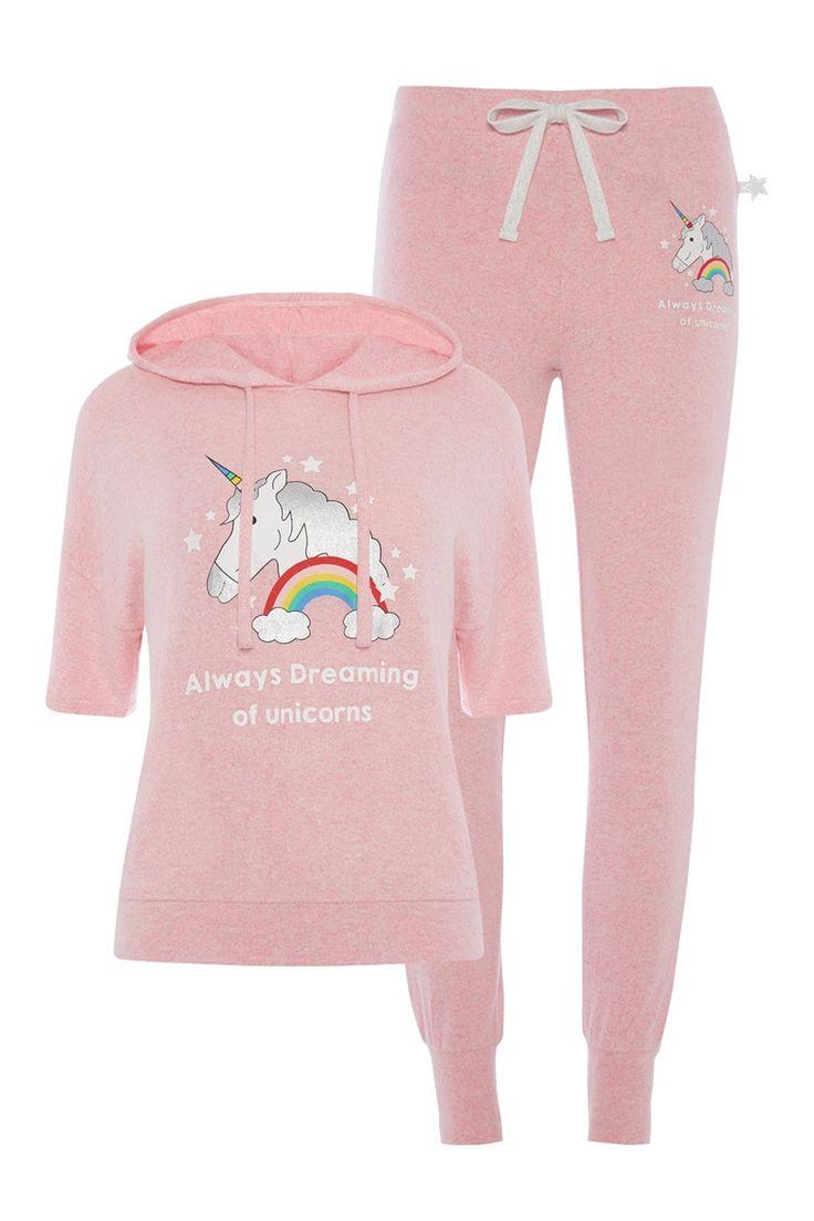 Primark - Pink Unicorn Top Bottoms Set