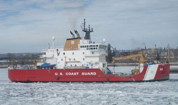 Coast Guard Cutter Mackinaw in the St. Mary's River approaching the Soo Locks on March 23, 2007.  Photo furnished by Chelsea Socha of Sault Ste. Marie, Michigan.