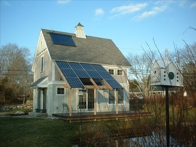 New England farmhouse, cupola, solar panels